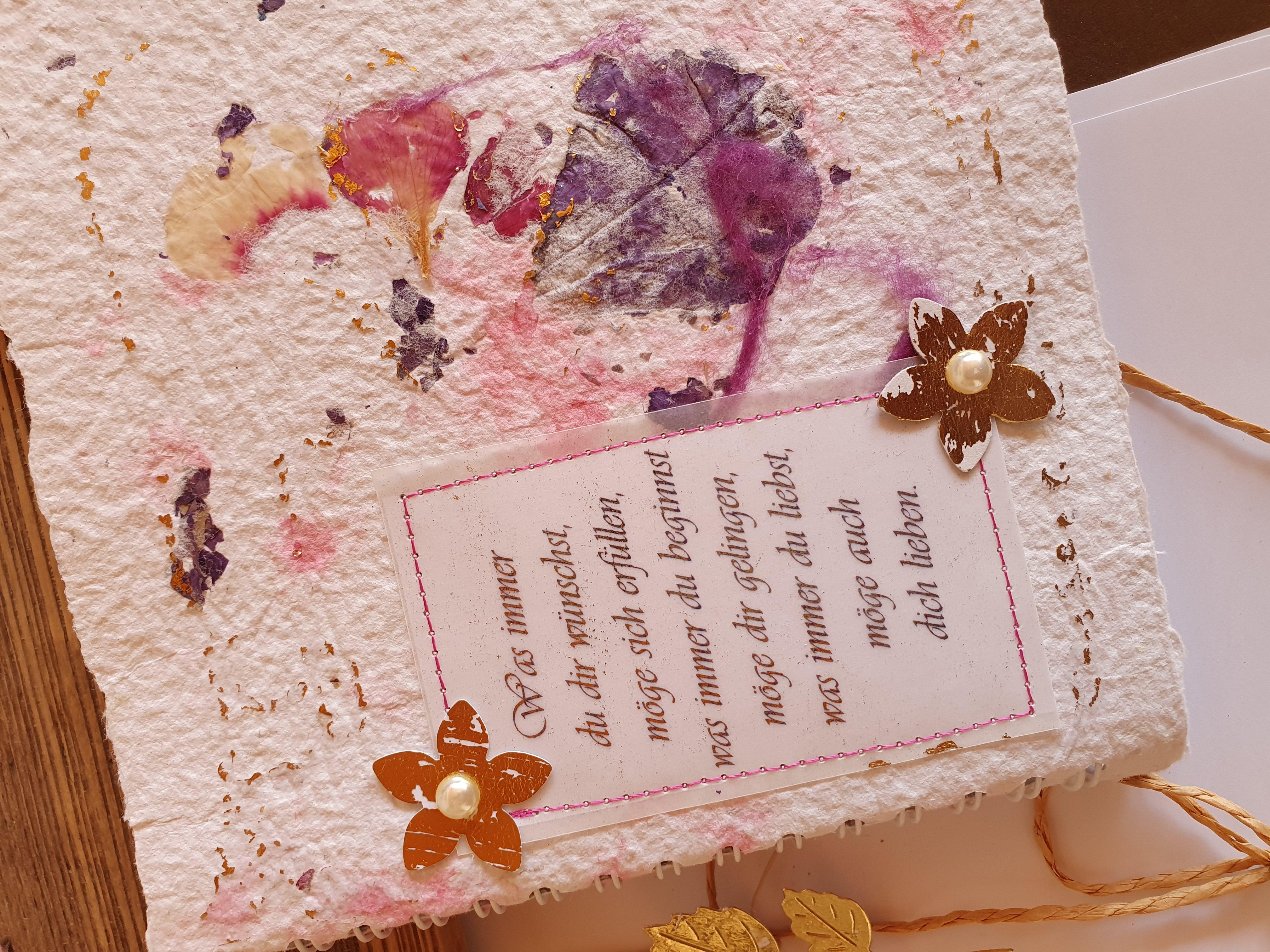 """Schreibbuch """" violett, rosa, gold,......."""""""