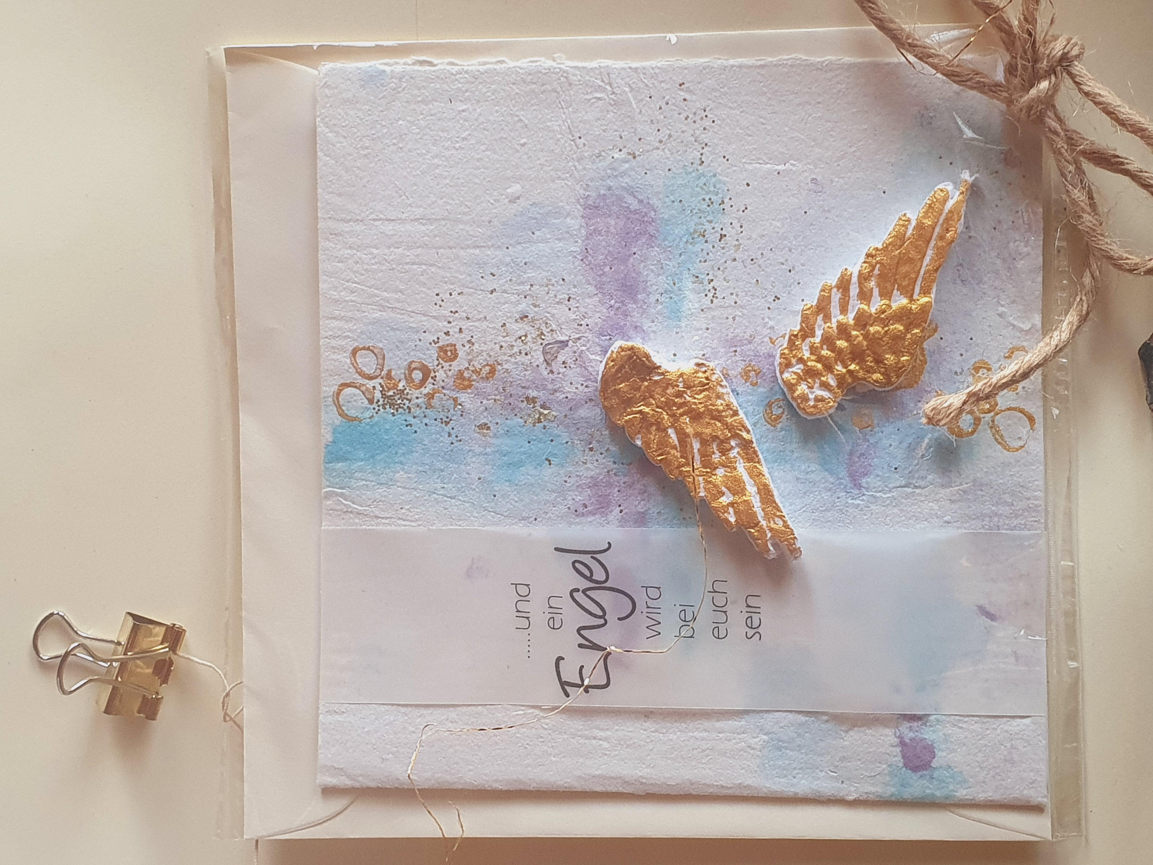 "Trauerkarte ""Goldene Flügel"""