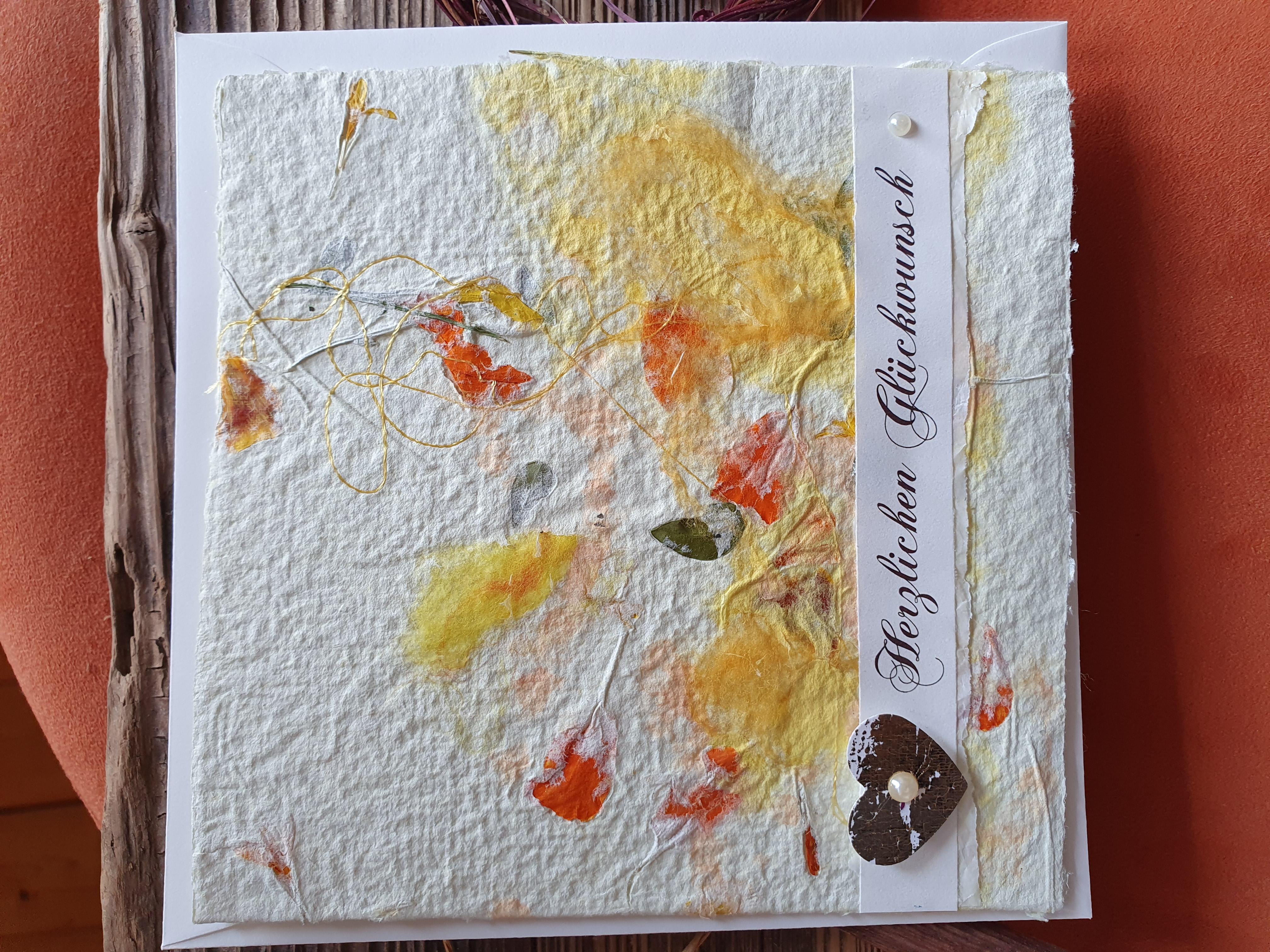 """Glückwunschkarte """"orange-gelbe Sommerblüten"""""""